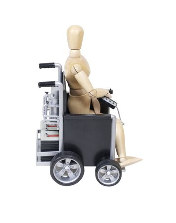 Sitting in an electric Wheelchair used for assistance in personal transportation when ambulatory methods are unavailable
