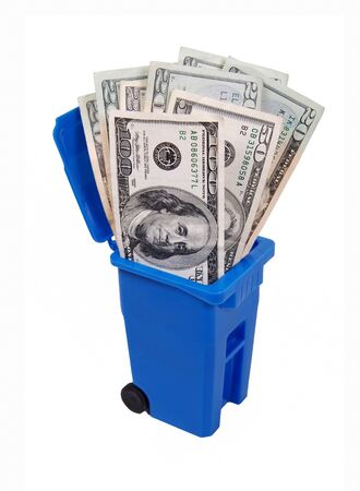 monies: Recycling saves money shown by a recycling bin full of money