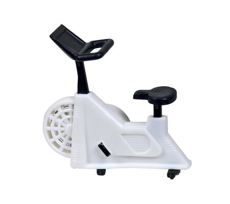 White exercise bike used for non-transport peddling for health fitness - path included Stock Photo - 7947497