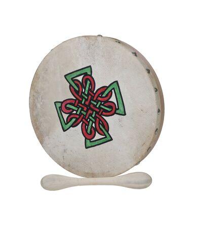batidora: Bodhran Beater tambor con la piel estirada encima de un marco