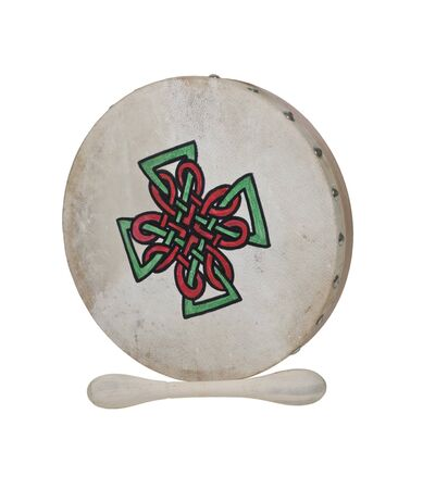Bodhran Beater Drum with stretched skin over a frame