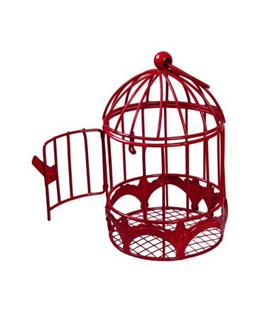 Door open to a birdcage that is used to keep a pet bird comfortable