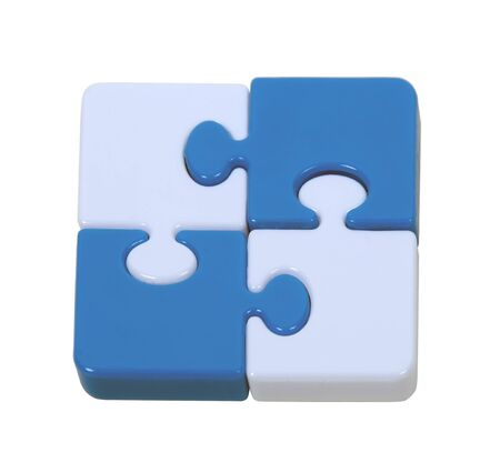 Contrasting color puzzle pieces interlocked together to make a pleasing pattern