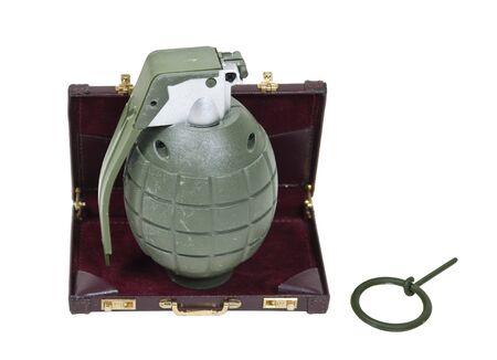 guerrilla: Guerrilla marketing shown by a green retro military grenade in a briefcase Stock Photo