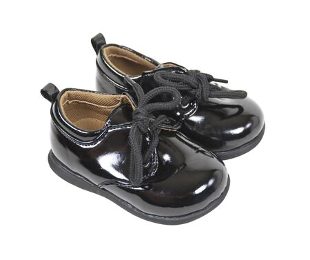 Shiny black leather formal baby shoes for special occasions