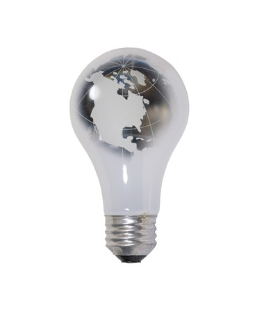 navigational light: World energy shown by a round glass lightbulb made from a glass globe