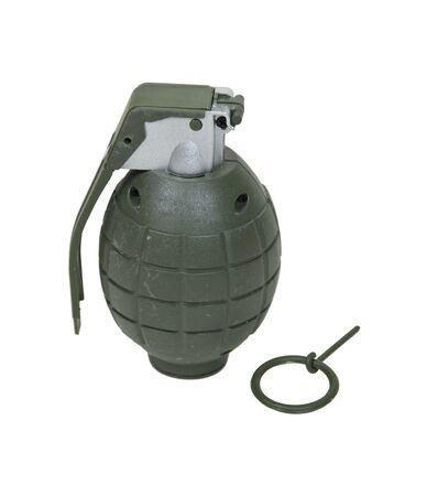 Green retro military grenade for blowing up things Reklamní fotografie - 8186673