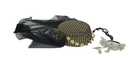 Arabian nights harem headwear with sequins and a veil with a silver chained necklace