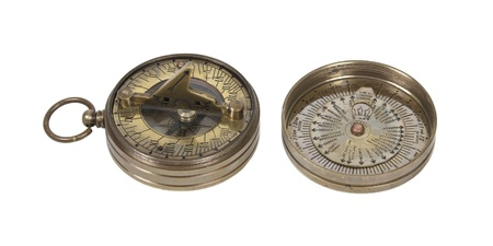 Pocket Brass sundial used to tell time as referenced by the sun