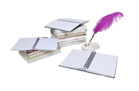 Report writing shown by a feathered pen amongst stacks of books and notebooks  版權商用圖片