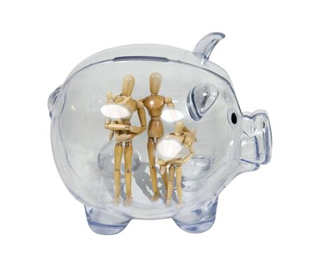 Family savings shown by a piggy bank in profile with a family inside photo
