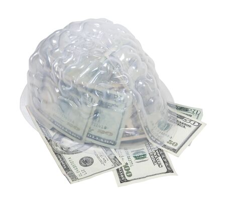 Money on the mind shown by money in the form of many large bills in a brain photo