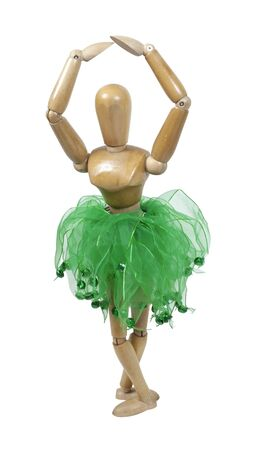 Graceful ballet dancer in a tutu in a pointe position fifth pose - path included