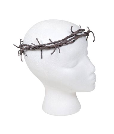 Model wearing a crown of thorns made of sharp barbed wired - path included photo