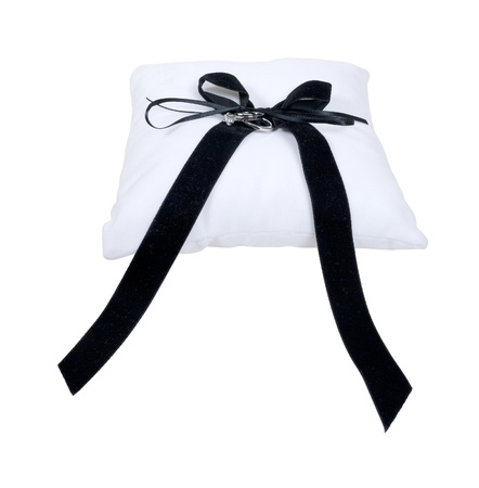 Pillow and wedding rings with a large ribbon for the wedding ceremony - path included photo