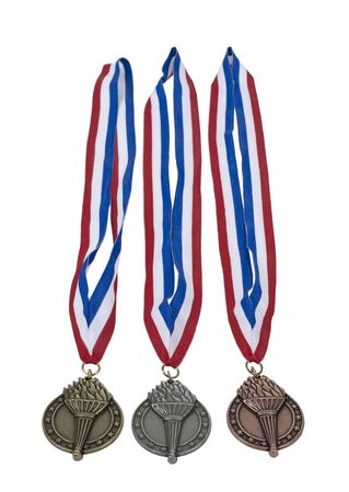 Award ribbon with gold, silver and bronze medallions