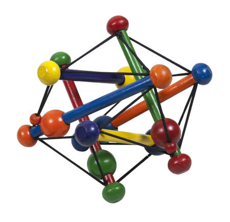 Atom model made of beads and strings  Imagens