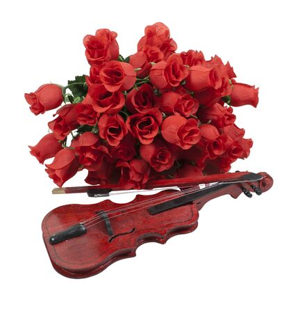 soft pedal: A classical gathering of long-stem red roses with a wooden violin
