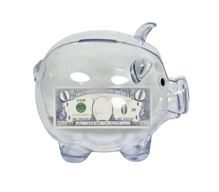 Clear piggy bank used to save money with zero money inside  photo