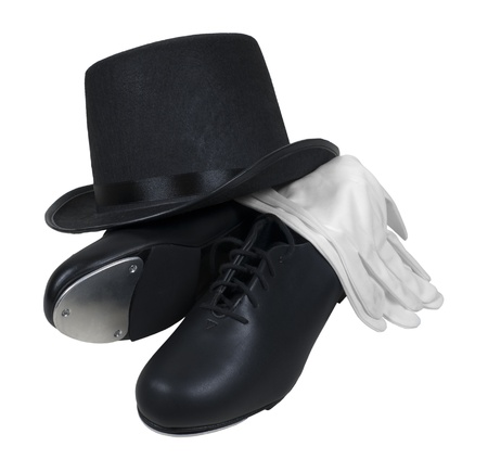 Leather tap shoes with a top hat with white gloves for a formal performance Stock Photo
