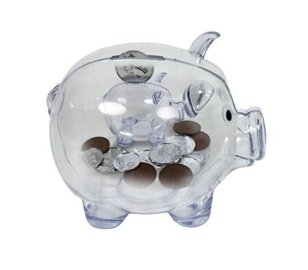 dime: Nickel and dime savings shown by a piggy bank with change inside another piggy bank - path included