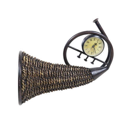 plentiful: Time for plenty shown by a wicker horn cornucopia which is symbolic for plentiful abundance with a timepiece - path included