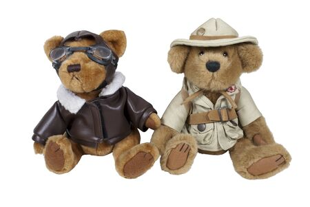 Aviator and explorer teddy bears ready for an adventure  Stock Photo - 8967557