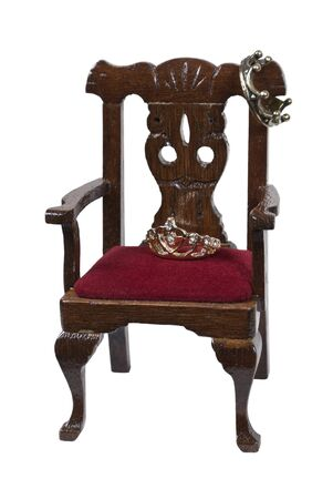 Throne of power shown by King and Queen crowns on a throne  photo