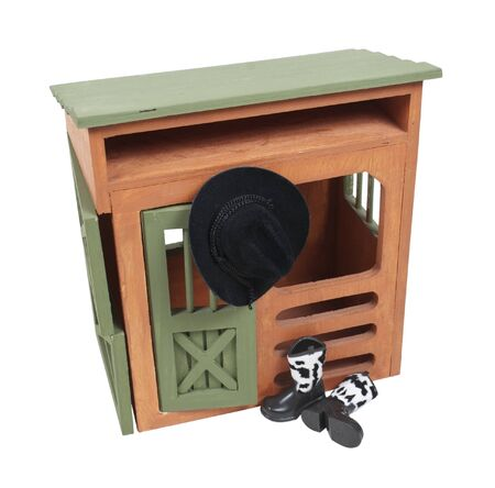sturdy: Wooden country barn with cowboy boots and hat - path included