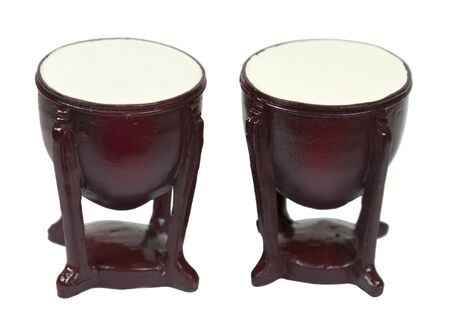 Wooden bomgo drums musical instruments with stands - path included