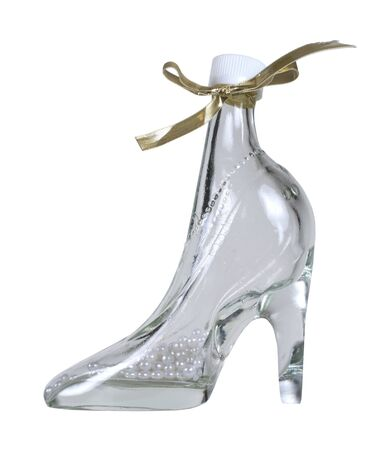 Delicate feminine high heeled glass boot with pearls - path included Stock Photo - 9001783