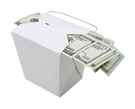 Money in the form of many large bills left as a tip in a take out box - path included photo