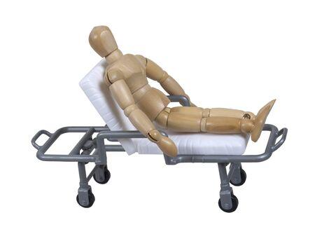 -含まれているパスの場所の間の患者輸送用病院ガーニーの患者 写真素材 - 9001776