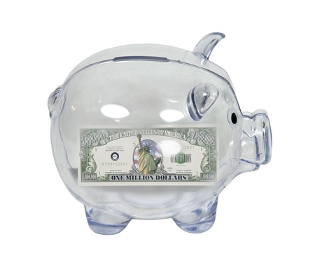 Clear piggy bank used to save money with a million dollars inside photo