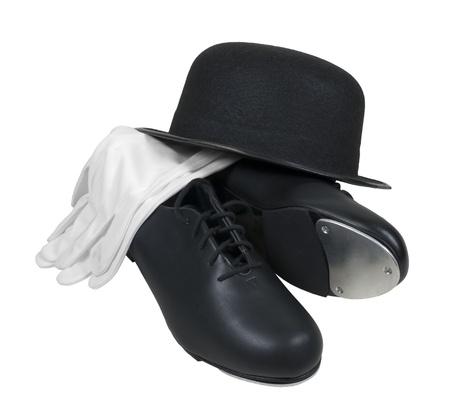 꼭두각시 신발과 흰 장갑 골동품 복고풍 스타일 중산 모 모자