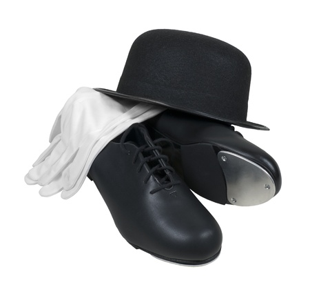 tap dance: Antique retro style bowler hat with tap shoes and white gloves