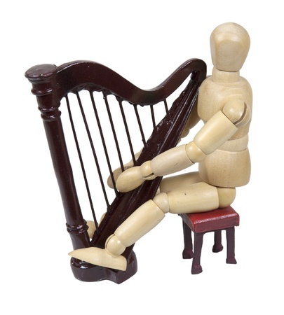 resonator: Playing a harp shown by a model sitting by a harp which is a stringed musical instrument - path included