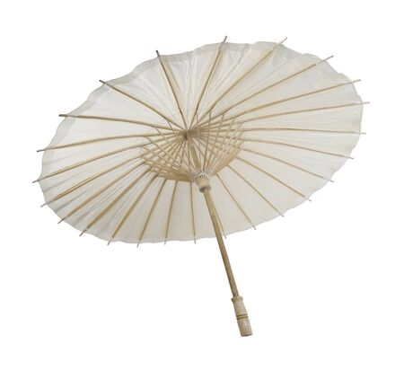 Traditional Asian paper and bamoo umbrella with a rounded handle - path included