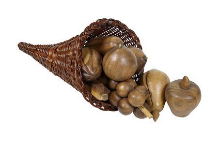 harvest cone cornucopia: Preserved abundance cornucopia wicker horn which is symbolic for plentiful abundance
