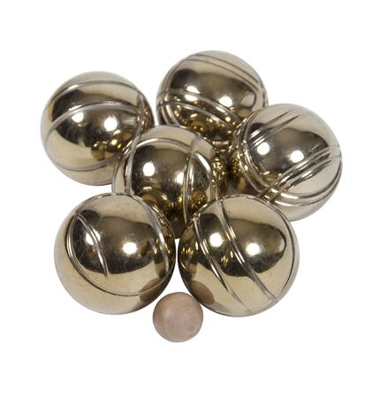 bocce: A set of brass bocce balls with the jack