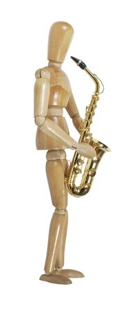 Model playing a brass saxophone with standard keys and touches