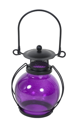 A bright purple lantern used to hold a light - path included