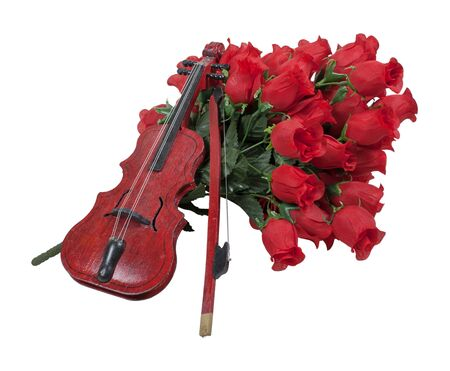 soft pedal: Classical wooden Violin on a bouquet of red roses - path included
