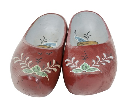 Traditional painted folkart wooden shoes - path included Stock fotó