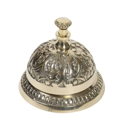 front desk: Brass intricate service bell placed on a counter and used to prompt for service - path included