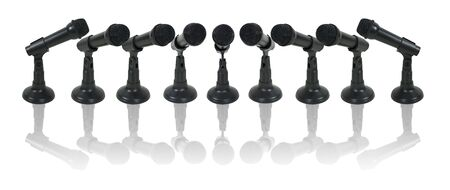 An array of microphones facing the speaker - path included