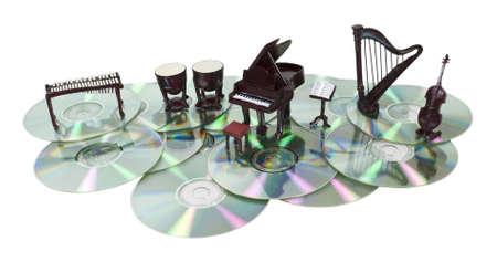 Music disks shown by a series of musical instruments on a several disks - path included Stock Photo - 9635507