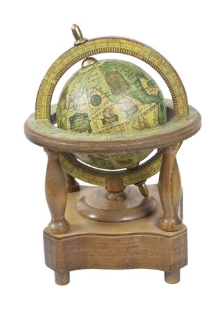 Old world wooden globe with basic navigation notations on a stand - path included Reklamní fotografie