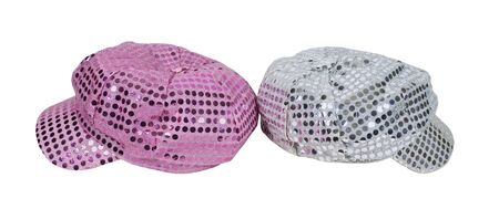 Pink and silver cap with reflective pieces of sparkle reminiscent of the disco era - path included