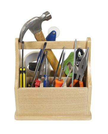 sturdy: Sturdy wooden toobox filled with tools ready to be used - path included Stock Photo